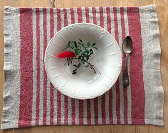 Red Striped Placemats, Linen Placemats, Rustic Home Decor, Red Linen Placemats, Red Fabric Placemats, Washable Placemats, Red Home Decor