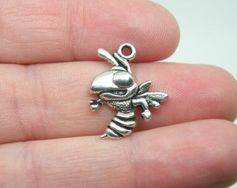 10 Silver Tone Hornet or Wasp Charms. B-024