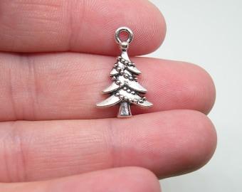 16 Silver Tone Chistmas Tree Charms. B-026