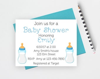 Baby boy shower invitations, bottle baby shower invitations, baby shower invites, baby stationery, bottle stationery, flat note cards, BBB