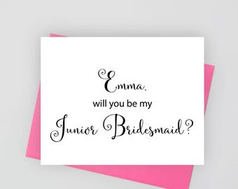 Personalized Will you be my junior bridesmaid card, wedding stationery, folded wedding cards,  wedding stationary, personalized stationery