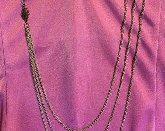 Triple chain necklace, brass multi-layered necklace, Chaindelier necklace