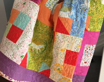 Handmade Princess Quilt featuring Far Far Away by Heather Ross