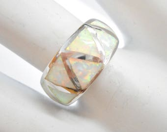 Opal Ring, Sterling Ring, Fire Opal Ring, Opal Band, Fire Opal Band, Sterling Silver Created Fire Opal Inlay Band Ring Sz 6.5 #3196