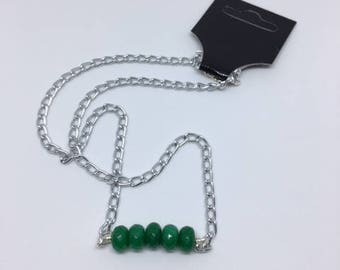 Jade Green Bead Necklace with Silver Plated Chain