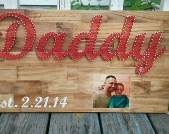 Daddy nail string art sign with photo wood transfer