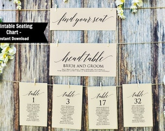 Wedding Printable Table Seating Chart Set, Editable Table Numbers, Seating Plan, Instant Download PDF, WLP370