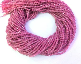 Natural Pink Tourmaline Beads Faceted 2mm 3mm 4mm Tiny Tourmaline Bead Genunine Pink Gemstone Bead Small Pink Semi Precious Stone Tourmaline