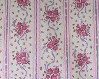 vintage 1950s floral stripe ribbon & bouquet print cotton dress fabric