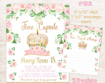 Pumpkin Time Capsule First Birthday Sign , Printable Birthday Sign