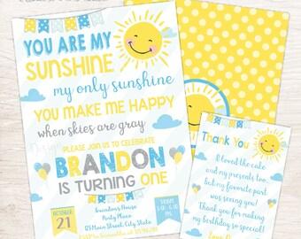 You Are My Sunshine Birthday Invitation, A Little Sunshine Invite, 1st Birthday Invitation, Sunshine Party, Boys Birthday Invitation