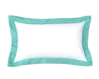 Modern Sateen White Powder Blue Pillow Cover with Flanges