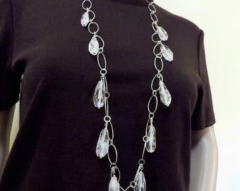 Natural rock quartz necklace