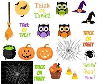 Halloween Cliparts Set, Owl, Corn Candy, Moon, Bats, Spider, Web, Cauldron, Trick or Treat, Boo!
