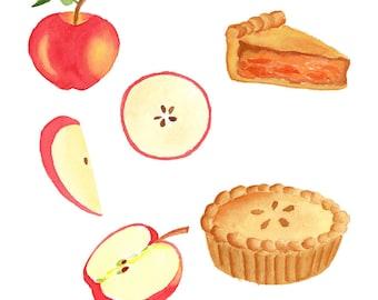 Watercolor Apple Set, Clipart Set, Fruit, Tasty, Apple Pie, Food, Autumn, Ripe, Juicy, Illustration