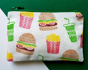 Hand Printed Fast Food Burger Fries Coin Purse