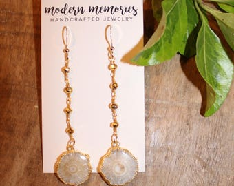 Neutral Quartz Pendant on Rosary Chain Earrings