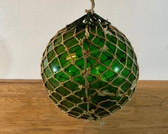 Antique 1920s green fishing net float from Sweden