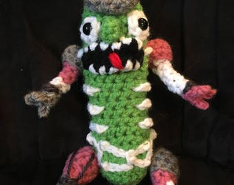 Pickle Rick Rat suit ratsuit plushie morty adult swim crochet amigurumi stuffed animal toy plush chibi