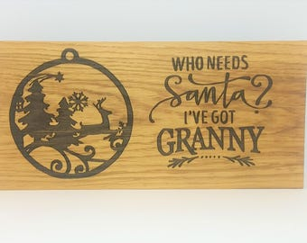 oak sign - oak plaque - personalised - christmas decoration -rustic wall art - christmas granny  - christmas present - house warming