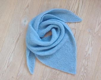 Knit Shawl / Hand-knitted Triangle Shawl / Warm Winter Shawl / Triangle Scarf / Light Blue Shawl / Mohair Shawl