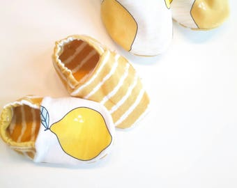 """babies & toddlers """"lemons"""" - sweet baby shoes from organic cotton jersey from elvelyckan design"""