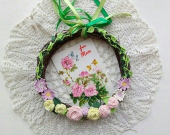 Mothers Day Wreath Spring Crochet Wreath Rustic Wall Wreath Crochet Flowers Wreath Crochet Birthday Gift Housewarming Gift Natural Branches