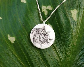 Tiger Scrimshaw Pendant, Tiger Necklace, Tiger Pendant, Handmade Scrimshaw Pendant