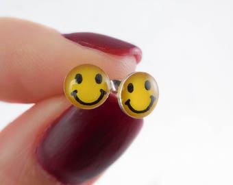 925 Sterling Silver Smiley Face Stud Earrings, Smiley Face, Smiley Jewelry, Smiley Stud, Smiley Earrings, Emoji Earrings, Cool Emoji