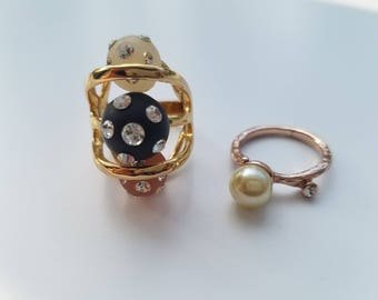 60's Chic - Retro Cocktail Ring with Rhinestones Embedded in Colored Stone & Antique Pearl/Stone Ring with Crystal Accent - Both Size 6.5