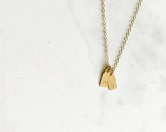 gold  letter necklace - mini tag necklace layering necklace gold tag necklace simple initial necklace