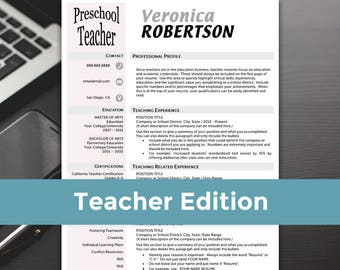 Teacher Resume Templates - Teacher Resume, Word, Teacher Resume Cover Letter, Teaching Resume - RESUME TEMPLATE iNSTANT dOWNLOAD