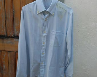 Vintage 1960s Men's Blue Oxford Shirt M, UK 39