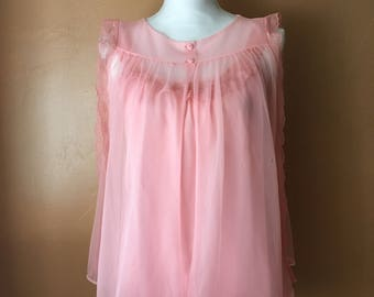 International Ladies Garment Workers Union Vintage Nightgown Set (Small) • ILGWU • 1950's  Baby Doll Style Lingerie Set