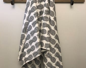 Black and White Pineapple Baby Flannel Blanket LARGE