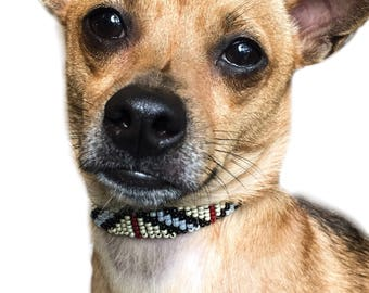 """Burberry Design Dog Collar:10""""-12"""" & 5/8"""". Burberry Style Beaded Dog Collar, Designer Collar with Stylish Beads in Chic Burberry Pattern"""