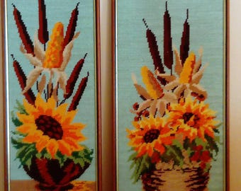 Two canvas/two french tapestry/sunflowers/sunflowers/vintage/1970/frame is wood and gold.