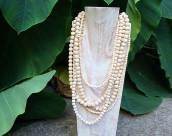 boho necklace, Multi Strand Wooden Necklace, Multi Strand Necklace, Mala necklace, wooden mala bead, statement necklace, layered necklace