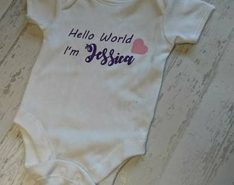 Baby vest, announcement vest, hello world, baby body suit, baby name