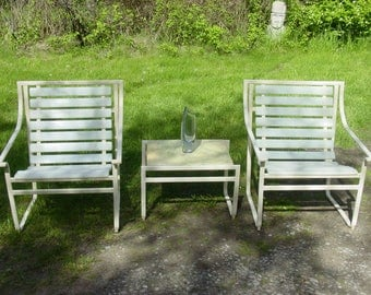 3 Pcs Patio Set, Vintage Furniture, 1960s Patio Set, Chairs And Table,