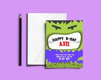 Hulk printable invitation, perfect for children's parties.