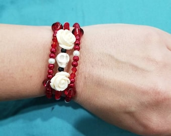Skull and rose Pearl glass beads bracelet