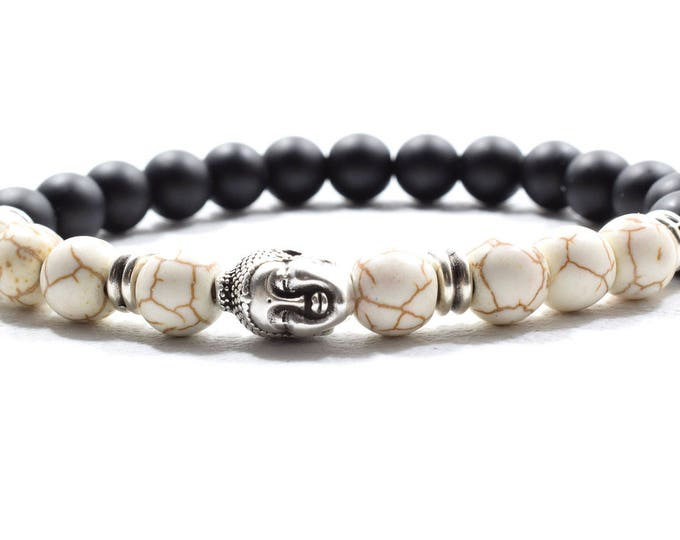 Buddha Bracelet with Howlite and Matte Black Onyx Beads.