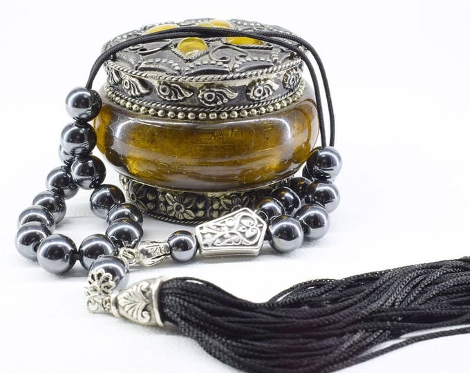 Hematite Komboloi, Black Tassel, Worry Beads, Hematite Stone, Greek Komboloi, Hematite Gemstone, Stress Relief, Gift for Him, Made in Greece