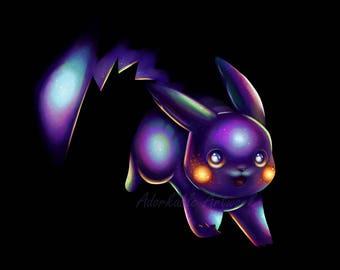 Midnight Pikachu - Digital Signed Print
