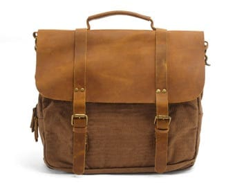 Leather Briefcase Man, Leather Satchel, Leather Messenger Bag Men, Waxed Canvas Briefcase, Women Leather Briefcase, Personalized Briefcase