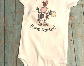 Farm Raised stacked cow pig and chicken  Onesie or Raglan