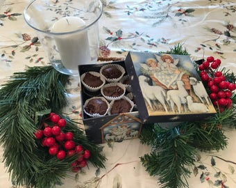 Chocolate Fudge in a Nativity Tin, Infant Jesus Manger Box, Nut Free Chocolate Fudge, Fudge in a Christmas Gift Box, Chocolate Candy