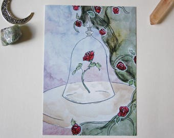 Art drawing print, beauty and the beast, Postcard, illustration, beauty and the beast