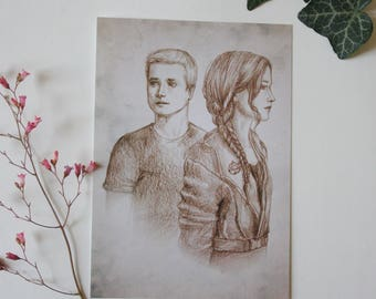 Art drawing print, Hunger games, Postcard, illustration peeta katniss